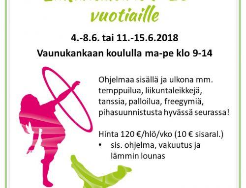 Kesän Liikuntaleirit – vielä tilaa leirillä 4.-8.6.!