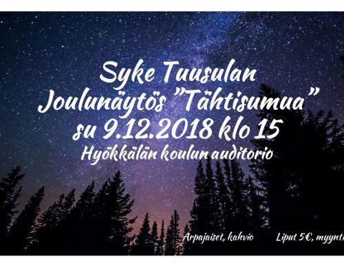 """Joulunäytös """"Tähtisumua"""" su 9.12. klo 15 Hyökkälän koululla"""