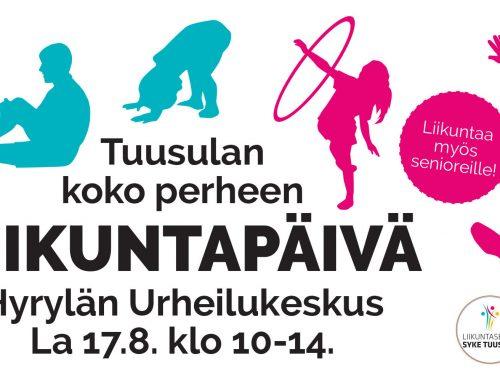 Liikuntatapahtuma 17.8. klo 10-14